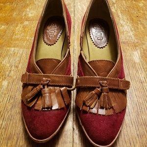 LaTigo Maroon Red Suede Brown Leather Tassel Heels